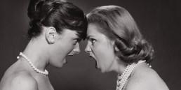 Two teenage girls fighting